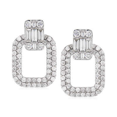 1.70 ct. t.w. Round and Baguette Diamond Drop Earrings in 14kt White Gold, , default