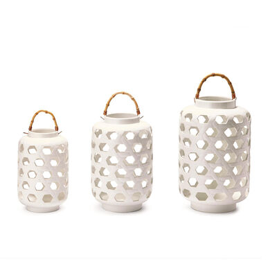 Set of 3 White Lattice Ceramic Lanterns with Bamboo Handles, , default