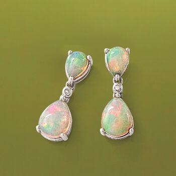 Opal Double Drop Earrings with Diamond Accents in Sterling Silver. Drop Earrings, , default
