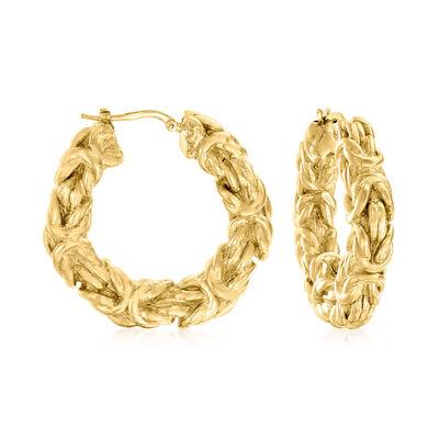 Italian 18kt Gold Over Sterling Byzantine Hoop Earrings