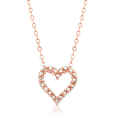 .25 ct. t.w. Diamond Heart Pendant Necklace in 14kt Rose Gold, , default