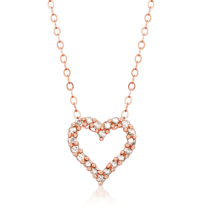 .25 ct. t.w. Diamond Heart Pendant Necklace in 14kt Rose Gold