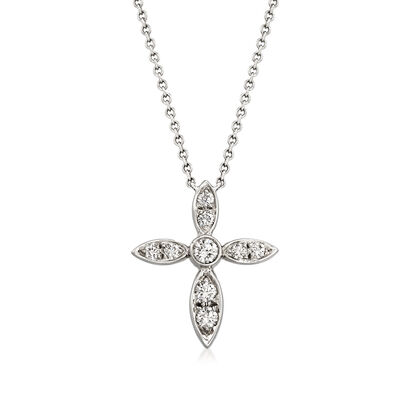 C. 1990 Vintage Tiffany Jewelry .35 ct. t.w. Diamond Cross Pendant Necklace in Platinum, , default