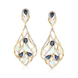 Opal and 2.85 ct. t.w. Multi-Stone Drop Earrings in 14kt Yellow Gold , , default
