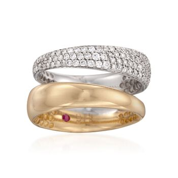 Roberto Coin .68 ct. t.w. Pave Diamond Double Ring in 18kt Two-Tone Gold. Size 7, , default