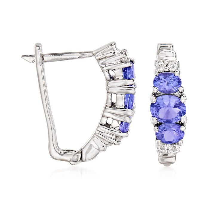 1.30 ct. t.w. Tanzanite and .20 ct. t.w. White Topaz Earrings in Sterling Silver