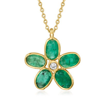C. 1980 Vintage 2.00 ct. t.w. Emerald and Diamond-Accented Flower Pendant Necklace in 14kt Yellow Gold