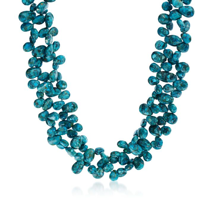 Turquoise Bead Statement Necklace with Sterling Silver