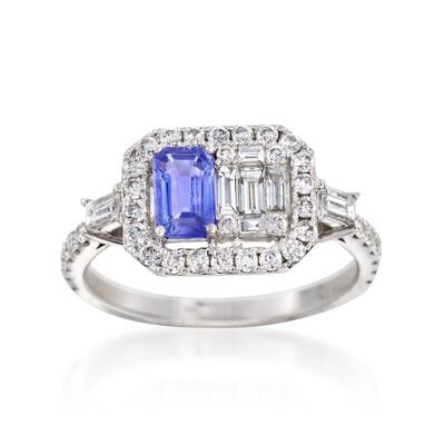 .60 Carat Sapphire and .78 ct. t.w. Diamond Ring in 18kt White Gold, , default