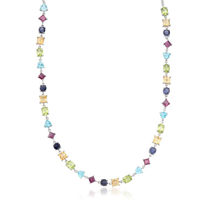 36.75 ct. t.w. Multi-Shaped Multi-Stone Necklace in Sterling Silver. 18""