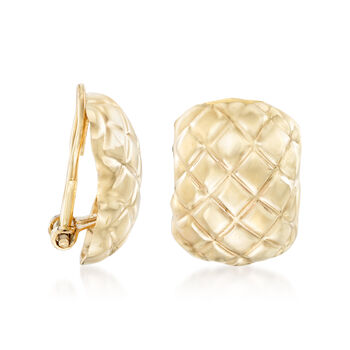 14kt Yellow Gold Quilted Clip-On Earrings
