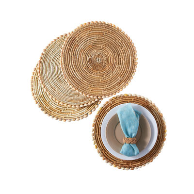 Set of 4 Pandan and Seashell Placemats, , default