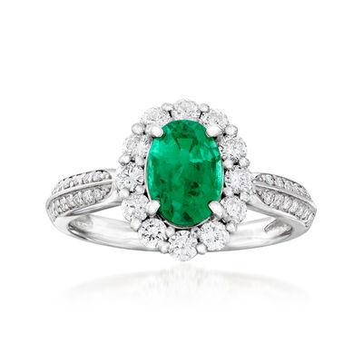 C. 1990 Vintage 1.26 Carat Emerald and .63 ct. t.w. Diamond Ring in Platinum, , default