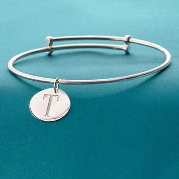 Sterling Silver Single Initial Disc Charm Bangle Bracelet, , default