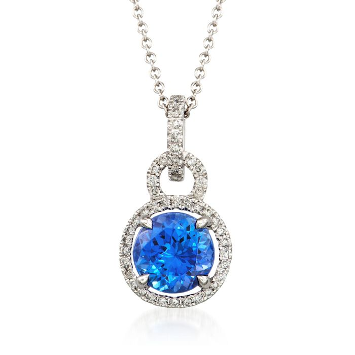 C. 2014 Simon G. 1.65 Carat Tanzanite and .22 ct. t.w. Diamond Pendant Necklace in 18kt White Gold