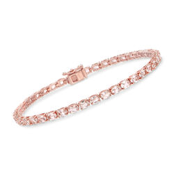 5.60 ct. t.w. Morganite Tennis Bracelet in 14kt Rose Gold Over Sterling, , default