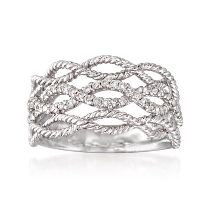 Gabriel Designs .39 ct. t.w. Diamond Woven Three-Row Ring in 14kt White Gold
