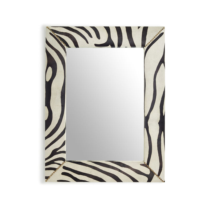 Mountain Zebra Leather Wall Mirror with Stud Accents, , default