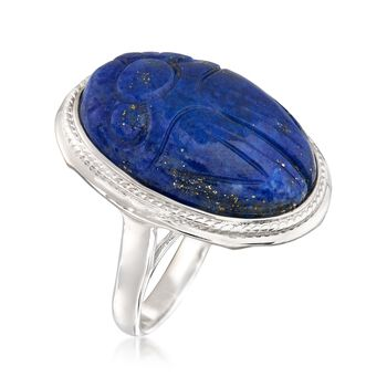 Carved Lapis Scarab Ring in Sterling Silver