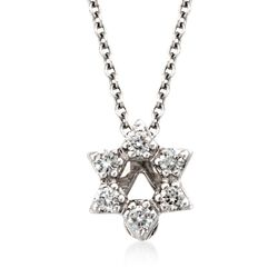 "Roberto Coin ""Tiny Treasures"" Diamond Accent Star of David Necklace in 18kt White Gold. 16"", , default"