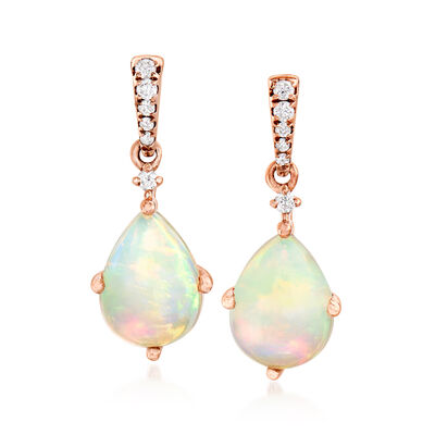 Opal Drop Earrings with Diamond Accents in 14kt Rose Gold, , default