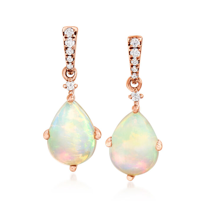 Opal Drop Earrings with Diamond Accents in 14kt Rose Gold
