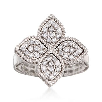 """Roberto Coin """"Princess"""" .45 ct. t.w. Diamond Flower Ring in 18kt White Gold. Size 6.5, , default"""