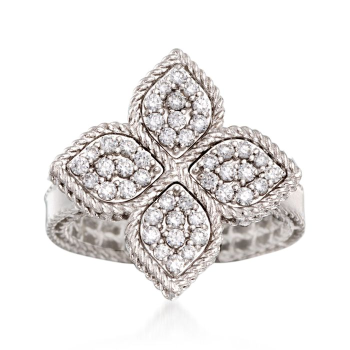 "Roberto Coin ""Princess"" .45 ct. t.w. Diamond Flower Ring in 18kt White Gold. Size 6.5, , default"