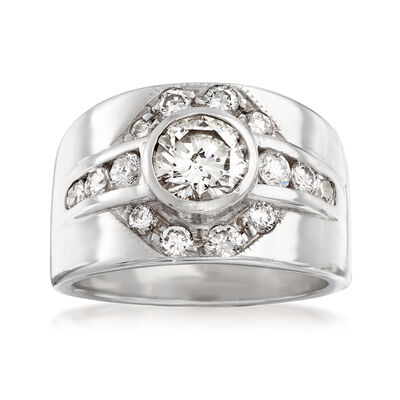 C. 1980 Vintage 1.70 ct. t.w. Diamond Cluster Ring in 14kt White Gold, , default
