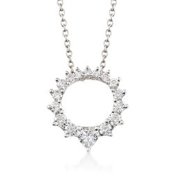 ".73 ct. t.w. Graduated CZ Open Circle Necklace in Sterling Silver. 16"", , default"