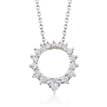 """.73 ct. t.w. Graduated CZ Open Circle Necklace in Sterling Silver. 16"""", , default"""