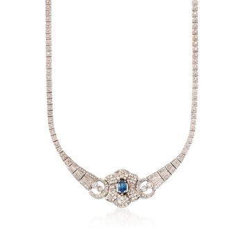 """C. 1990 Vintage 1.15 Carat Sapphire and 2.50 ct. t.w. Diamond Necklace in 14kt White Gold. 18"""", , default"""