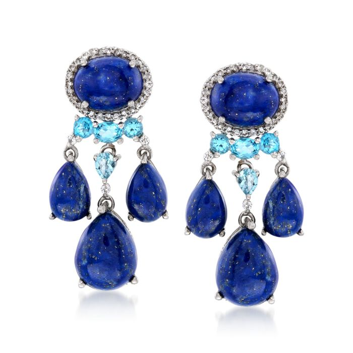 Lapis and 1.50 ct. t.w. Blue and White Topaz Chandelier Earrings in Sterling Silver, , default