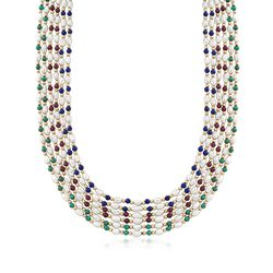 "C. 1980 Vintage Cultured Baroque Pearl and 4mm Multi-Stone Multi-Row Necklace in 18kt Gold. 32"", , default"