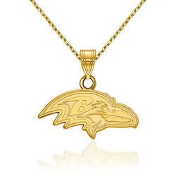 "14kt Yellow Gold NFL Baltimore Ravens Pendant Necklace. 18"", , default"