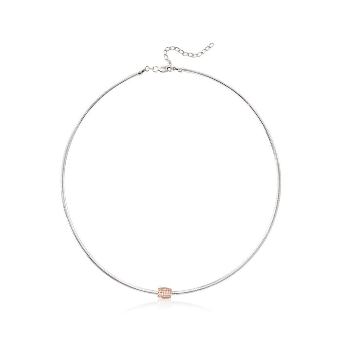 """Italian .85 ct. t.w. CZ Bead Omega Necklace in Two-Tone Sterling Silver. 18"""", , default"""