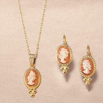 Shell Cameo Rope Bezel Pendant Necklace in 14kt Yellow Gold, , default
