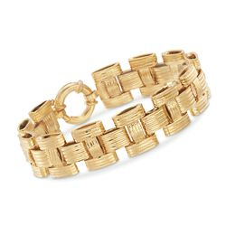 Italian 18kt Yellow Gold Textured and Polished Panther-Link Bracelet, , default