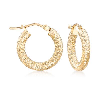 Italian 14kt Yellow Gold Diamond-Cut Hoop Earrings, , default