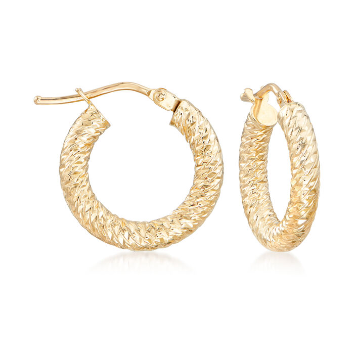 Italian 14kt Yellow Gold Diamond-Cut Hoop Earrings