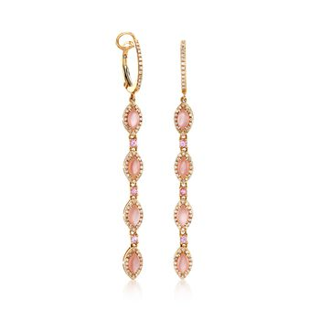 Pink Mother-Of-Pearl and .46 ct. t.w. Diamond Earrings With .20 ct. t.w. Pink Sapphires in 18kt Yellow Gold, , default