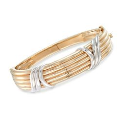 14kt Two-Tone Gold Ribbed Bangle Bracelet, , default