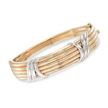 14kt Two-Tone Gold Ribbed Bangle Bracelet, , default