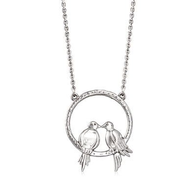 Sterling Silver Lovebirds Pendant Necklace, , default