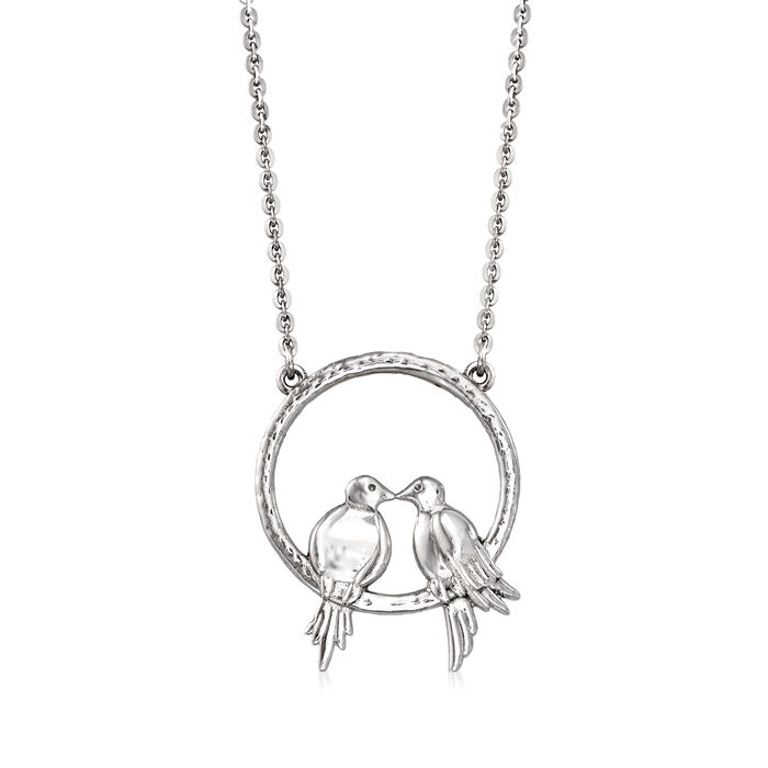 Sterling Silver Lovebirds Pendant Necklace