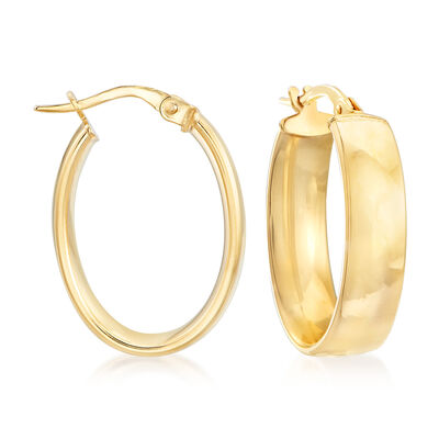 Italian 14kt Yellow Gold Oval Hoop Earrings, , default