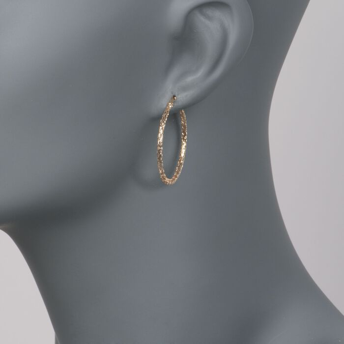 14kt Yellow Gold Mesh-Style Hoop Earrings