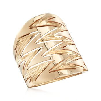 Italian 14kt Yellow Gold Diamond-Cut and Polished Zigzag Ring. Size 5, , default