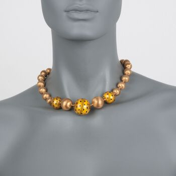 "C. 1970 Vintage 18kt Yellow Gold Bead Necklace. 17.25"", , default"