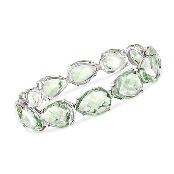 """135.00 ct. t.w. Green Amethyst Bangle Bracelet in Sterling Silver. 7.5"""", , default"""